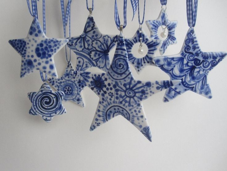 Delft Star ornament - Hand painted  Blue and white heirloom Christmas ornament. $37.00, via Etsy.