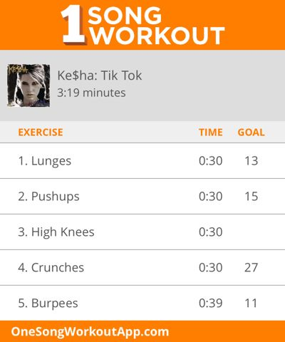 One song workout for Kesha's Tik Tok #exercise