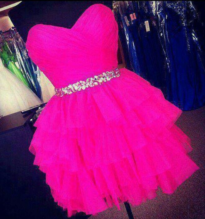 hot pink short puffydresss future prom pinterest