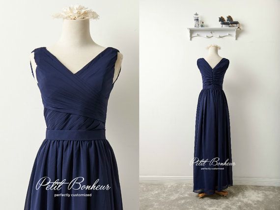 Midnight blue v-neck prom dress Navy by PetitBonheurStudio on Etsy