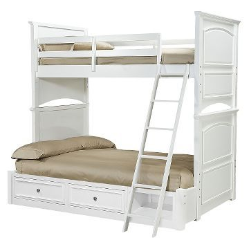 Bunk Bed with Trundle White (Twin/Full) - LCKids