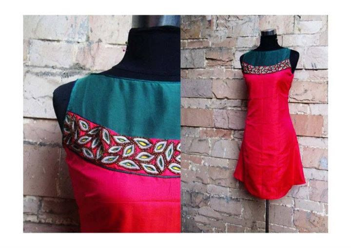 Red straight cut kurta with beige floral skirt