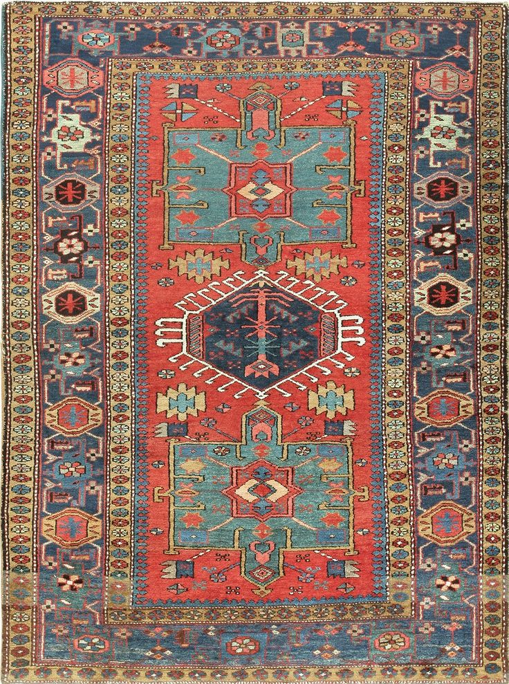 Antique Persian Heriz Scatter Rug 47520 Main Image - By Nazmiyal