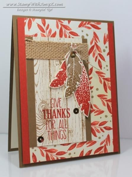 I made this card for the Mojo Monday 362 sketch challenge.  You can see more information and free instructions for making this card on my blog:  http://stampwithamyk.com/2014/09/14/four-feathers-give-thanks-stampin-up/