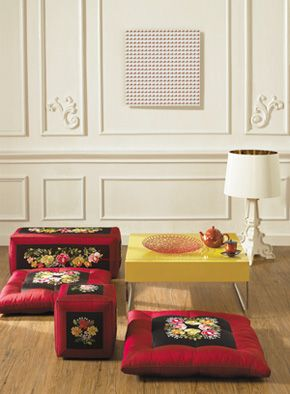 Korean style home decor with traditional sitting cushion(embroidered)