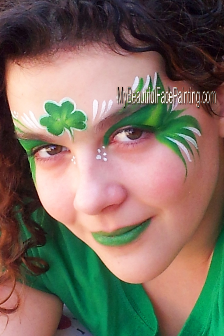 St. Patrick's day mask in green face paint.  Tag green leaf split with Dfx white for accents.