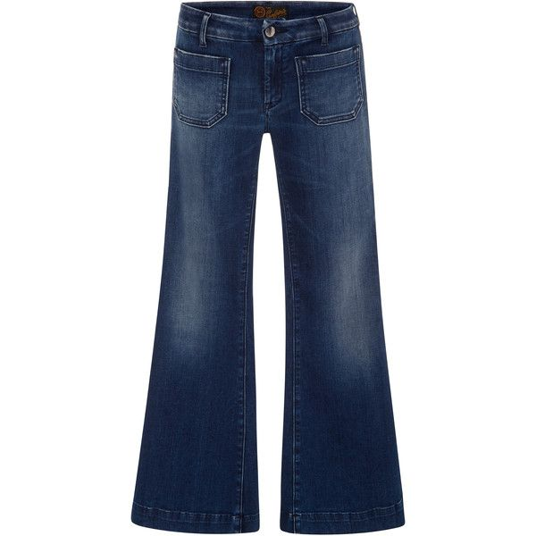 Seafarer Penelope-Cropped-Flare-Jeans (1.291.070 IDR) ❤ liked on Polyvore featuring jeans, dark wash, medium wash jeans, blue denim jeans, retro jeans, dark wash denim jeans and flare jeans