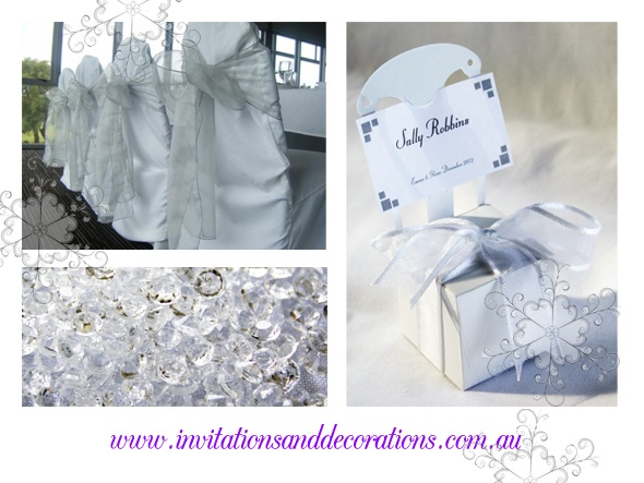 Who's having a winter wedding?  Lots of couples it would seem, using silver and crystal as their decorative theme...