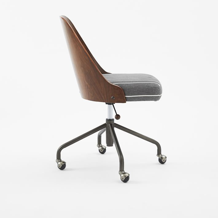 Bentwood Office Chair + Cushion - White/Ash Gray