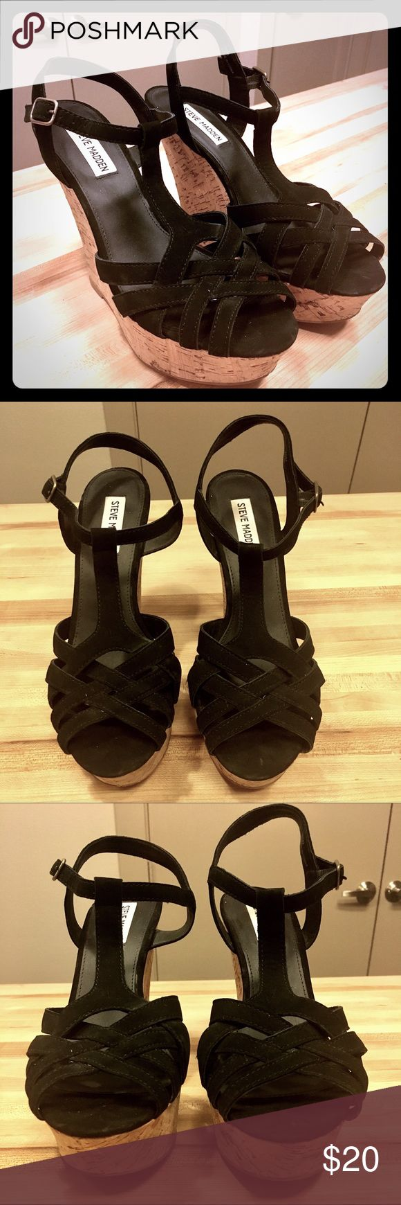 """Steve Madden Strappy Black Wedges Steve Madden """"Wildness"""" Wedges heels in size 10M. The heel is 5.5"""". They have been worn once and have scuffing on the soles but no other signs of wear. Steve Madden Shoes Wedges"""