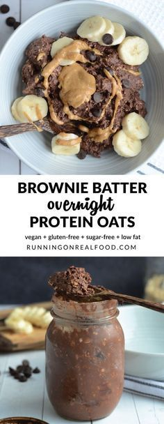 Prep these chocolate-packed, thick and creamy, brownie batter overnight protein oats in just 1 minute and wake up to dessert for breakfast! Vegan, gluten-free, so easy! Recipe: http://runningonrealfoo