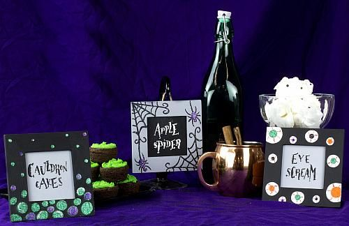 Spooky Halloween Food Dish Markers -- Decorate a Halloween party table with these spooky dish markers. #decoartprojects #halloween