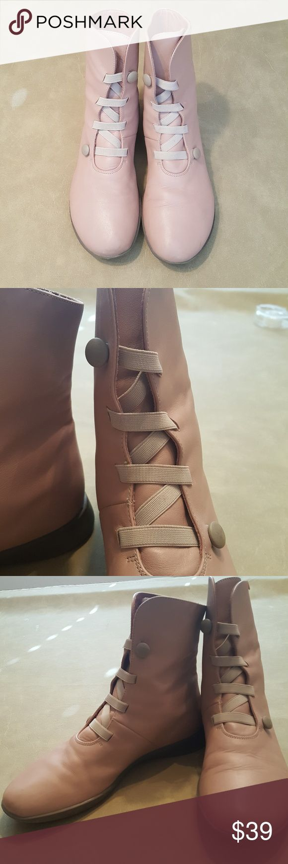Camper boots Pale pink/taupe Camper boots have an elastic  button closure which adjusts for fit.  Leather upper with rubber sole.  Size 10.  Fun Camper stye t'boot.  Good condition.  Takes a little muscle to pull them on. Camper Shoes Ankle Boots & Booties