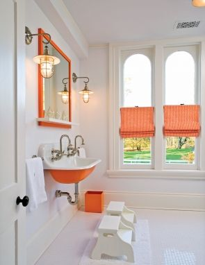 The Zhush: Home Tour: Historic Bedford Village Gem, love the sink, the orange, the lights.