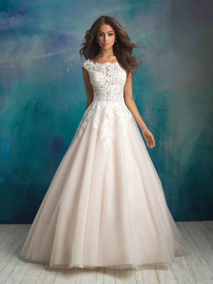 A Bateau Neckline And Delicate Cap Sleeves Compose The Bodice Of This Ball Gown From Allure