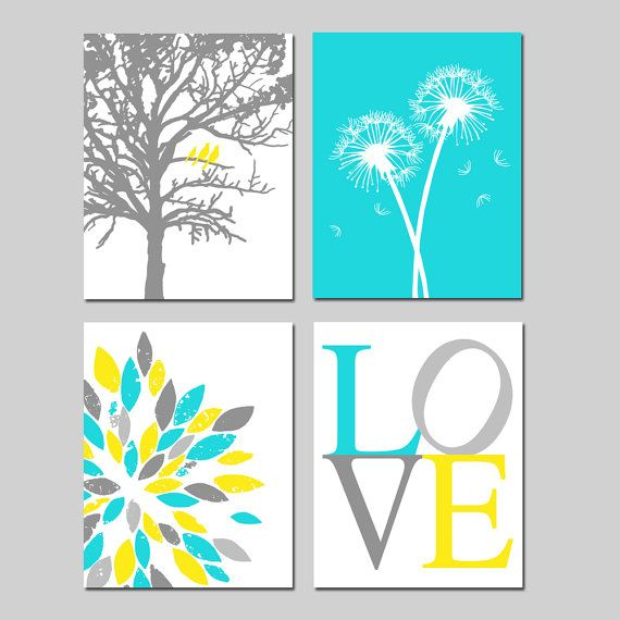 Yellow Aqua Gray Baby Nursery Art Quad Birds in a Tree by Tessyla, $65.00