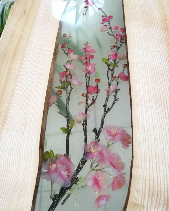 Resin coffee table with flowers and ash wood, Cherry blossoms