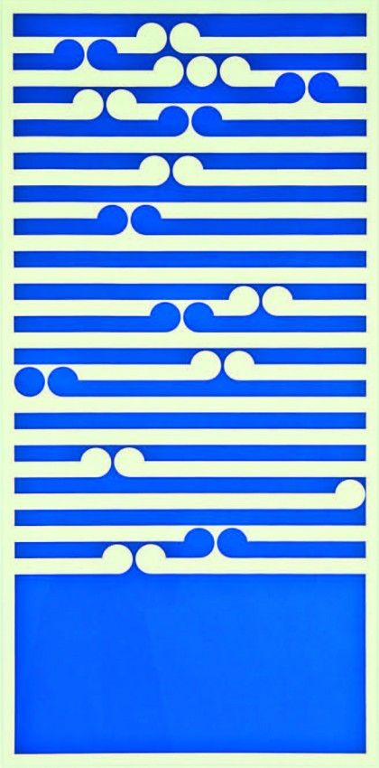 'Amoka'. Blue and white wave style screenprint, by Gordon Walters 1972. 860 x 415mm.