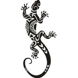 Gecko Maori Aufkleber Wandbild Wandtattoo Deko 2 Meter lang