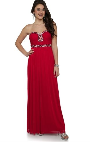 Deb Shops Strapless Long #Prom Dress with Sweetheart Stone Neckline and Keyhole Cutout