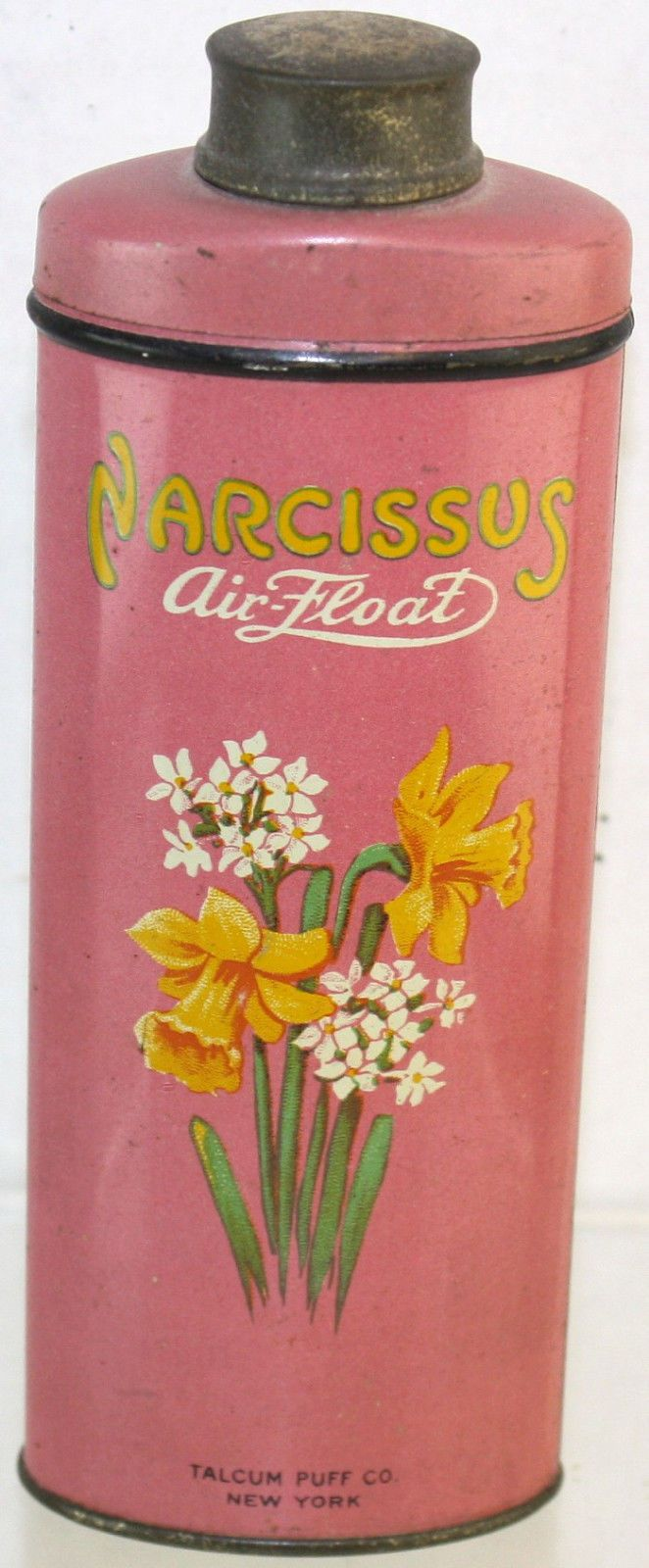 1940's Narcissus Air-Float New York Talcum Baby Powder Tin Container