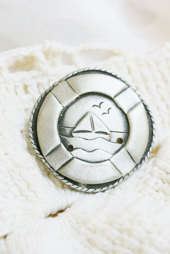 Nautical pewter colored life preserver ring brooch
