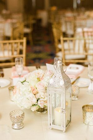 Andrea Layne Floral Design - White with pops of peach centerpiece from wedding at the Vinoy in St Pete. Photos by Ailyn La Torre Photography