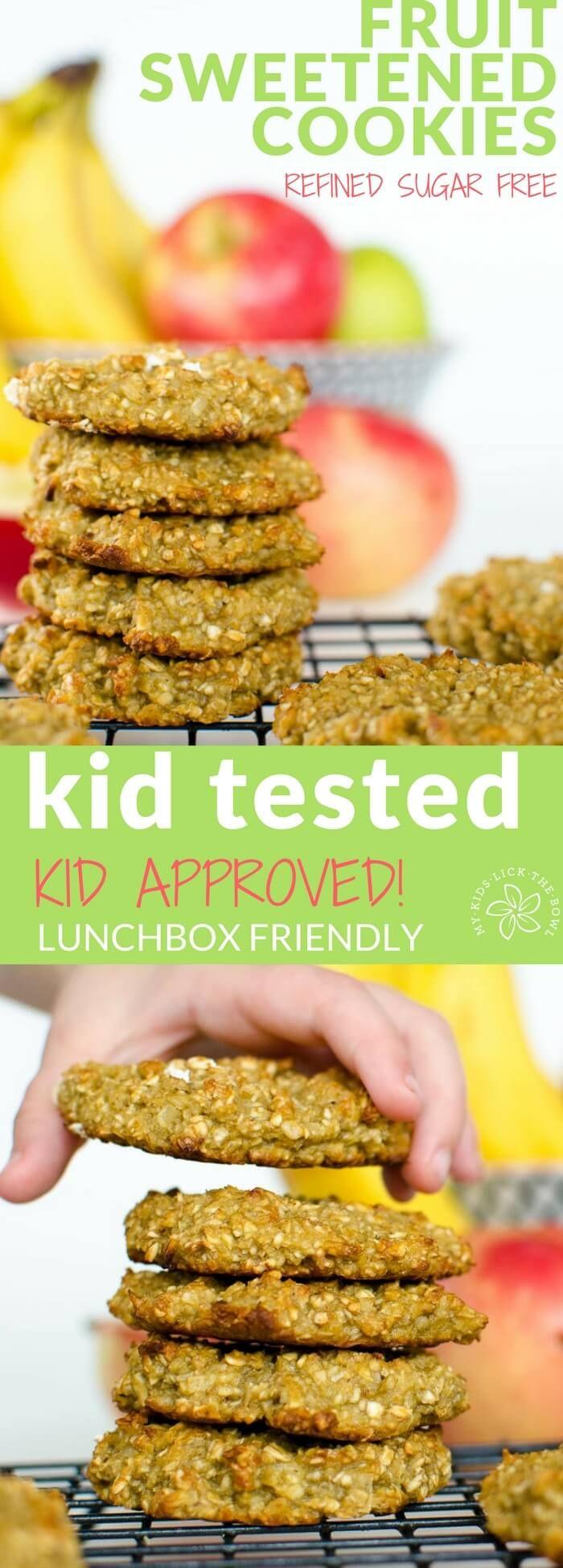 fruit sweetened cookies, easy healthy recipe, banana, apple sauce and oatmeal, wheat free, kid friendly