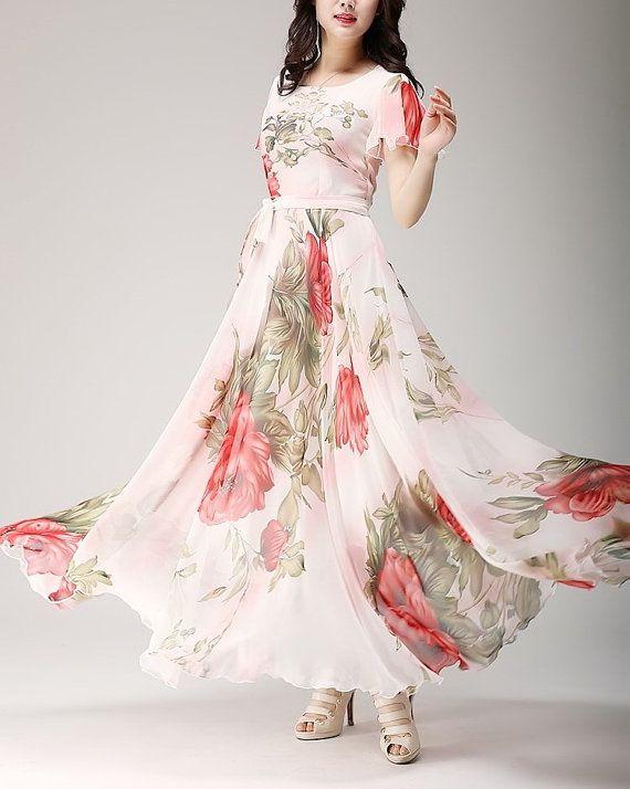 Spring summer chiffon long dress lady women clothing by jadeok