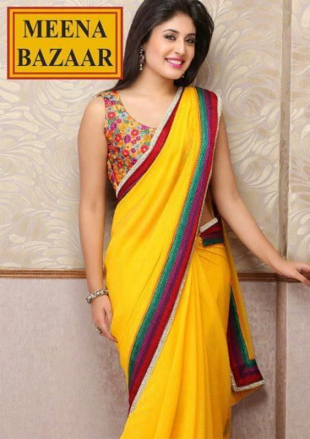 Meena-Bazar-Yellow-Saree