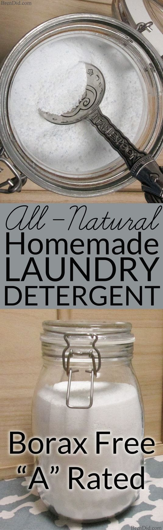 This tutorial for Borax free natural homemade laundry detergent makes 320 loads of non-toxic laundry detergent for $20.75 ( $0.06 per load) and rates an A on the Environmental Working Group (EWG) Healthy Cleaning scale. It's a win-win for natural cleaning and fugal living.  via @brendidblog