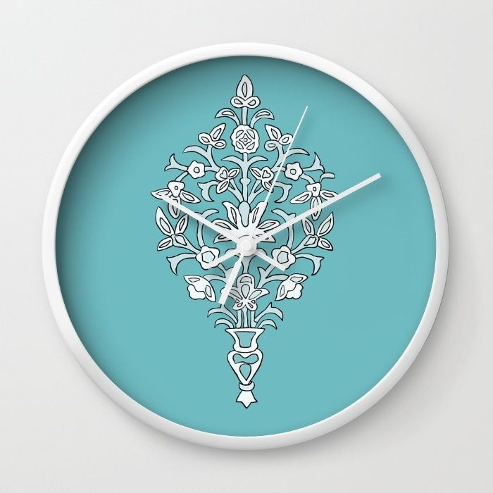 Swirly Flowers Wall Clock