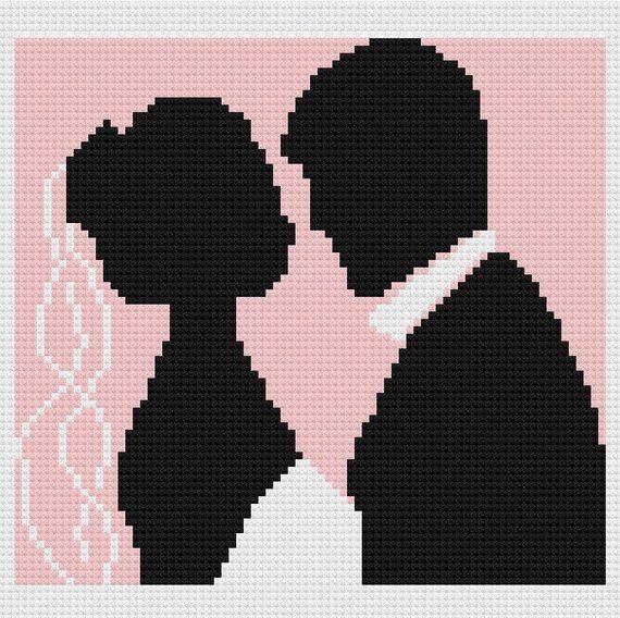 Wedding Couple 2 Afghan, C2C Crochet Pattern, Written Row