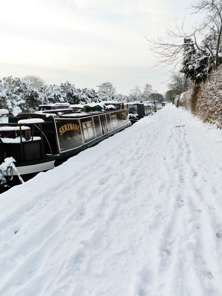 Canal Barges in the Snow, Gailey Locks, Staffordshire, England via Aldridge, in a Campervan.