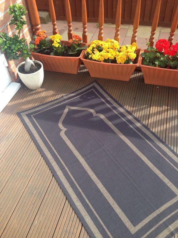 Muslim Prayer Rug - The Yasin Plain Prayer Mat - Grey & Stone - Merino Wool mix
