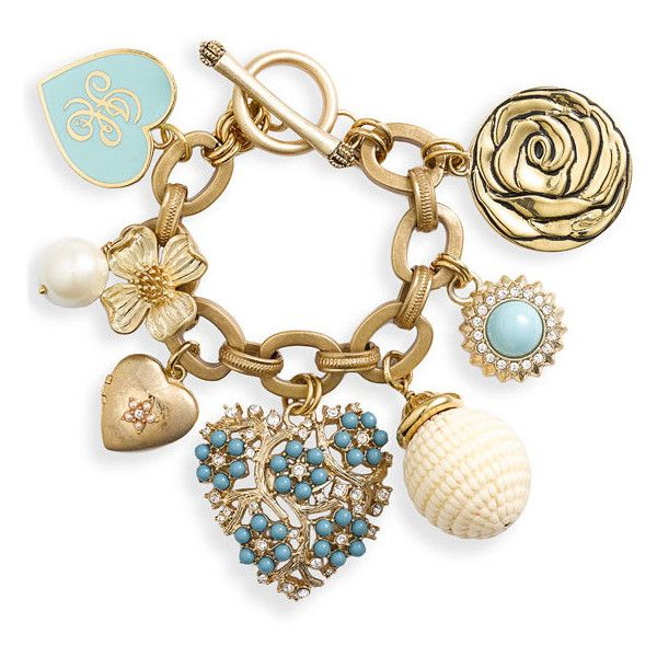 Juicy Couture Heart & Flower Charm Bracelet Turquoise One Size ($148) ❤ liked on Polyvore featuring jewelry, bracelets, accessories, fillers, pulseras, women, turquoise bracelet, juicy couture bracelet, bracelet bangle and heart charms