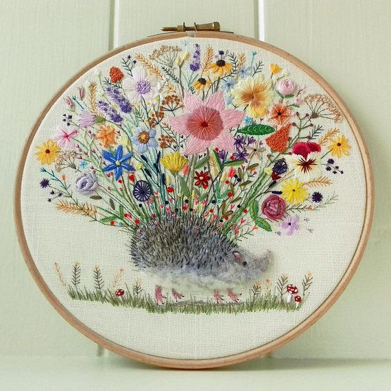 Hog of the Hedge  Embroidery Hoop Art  Pretty and Cute