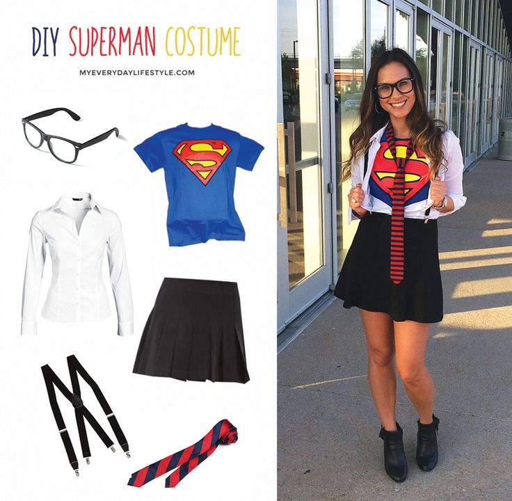 """Halloween is just around the corner.In need of a costume idea ladies? Here  is a quick, super cute DIY costume for those on a budget. I wore this at  the Dallas Comic Con Fan Days Event with my daughter last weekendand it  was a huge hit. Everyday wear you can find in your closet turned into Clark  Kent """"Superman"""". Enjoy! - xo Mel  White Collar Shirt - H&M  