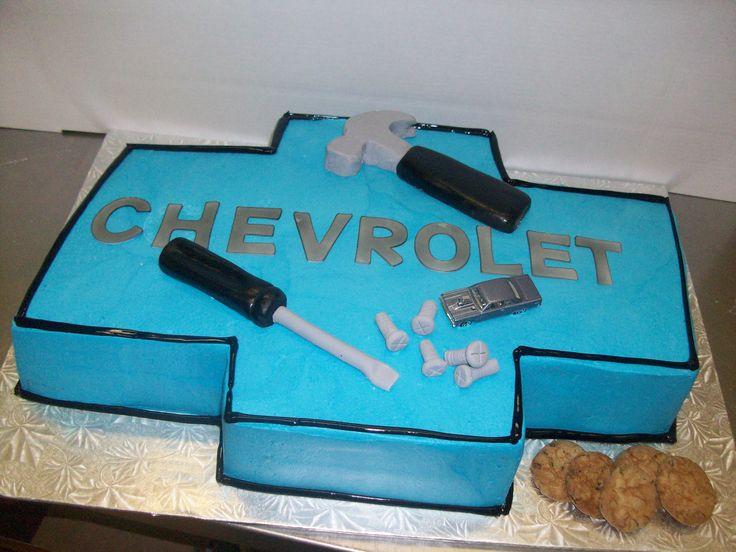 Calumet Bakery  Chevy Symbol with fondant tools