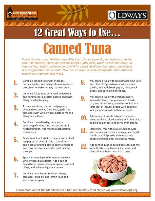 12 Great Ways to Use...Canned Tuna    Canned tuna is a great Mediterranean Diet food. It is rich in protein, low in fat and calories, and is an excellent source of essential omega-3 fatty acids, which science has shown to improve heart health and brain function.