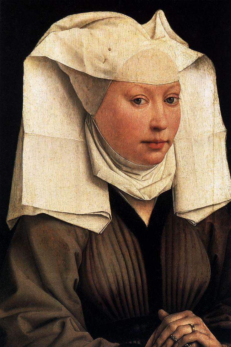 Rogier van der Weyden, c. 1435Lady wearing a gauze headdressand a fur lined brown houppelande.