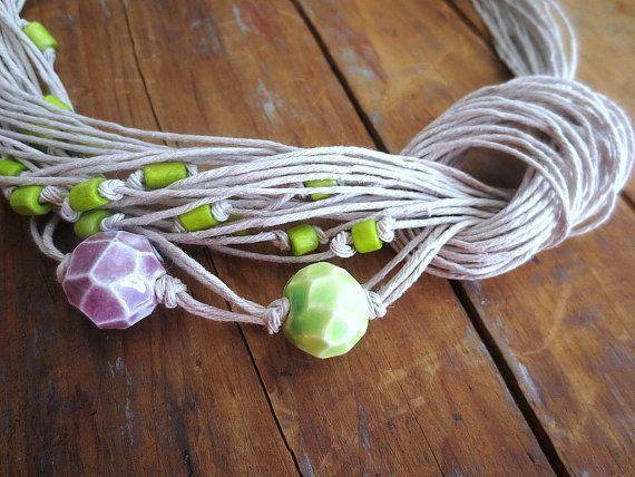 Lino collana perle di ceramica osso perline gioielli di ReTeTeer