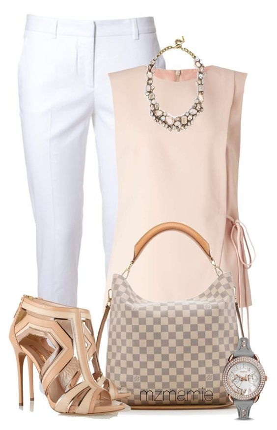 white slacks + pink thick strapped tank + statement necklace + sandal nude heels