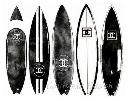 ★デザイナー アートポスター Chanel サーフボード Black A4