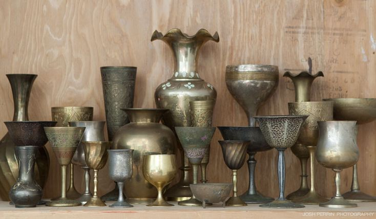 Metal goblets.Shop, Bistro Tables, Good Home-Coming, Brass Vessel, Flower Gardens, Vintage Metals, Precious Metals, De Perrin, Dining Tables