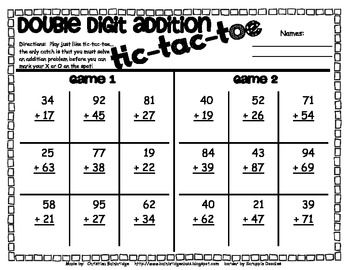 double digit addition games tictactoe and a dice game freebie  double digit addition games tictactoe and a dice game freebie  third  grade math  pinterest  math math games and addition games