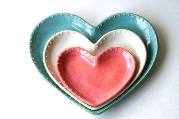 Heart Nesting Plates - Pink Cream and Blue - Dinner Salad Dessert Bread Plate - French Country Home