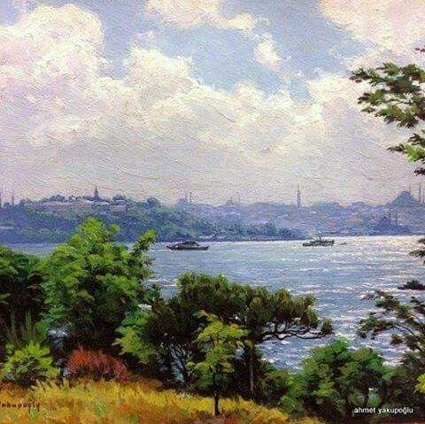 Bestesi de güftesi de Üsatada ait gözlerden gönüllerden düşmiyen bir İstanbul şarkısı... eser...ressam Ahmet Yakupoğlu.