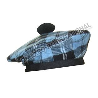Scottish hat Blue and black with Black Pom Pom http://www.bagpipers.eu/black-glengarry-hat-yellow-black-dicing-red-pom-pom-prodetail4594