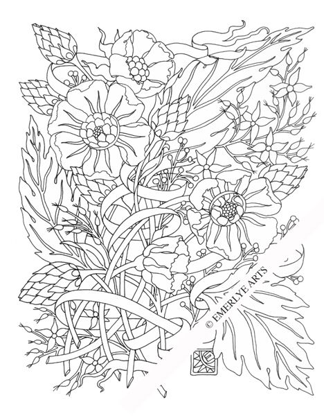 Windy Day Flowers An Adult Coloring Page My Adult